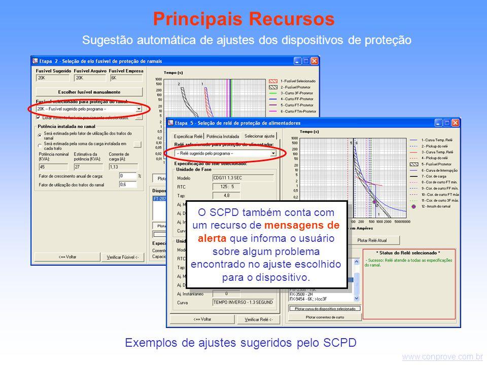 Principais Recursos Sugestão automática de ajustes dos dispositivos de proteção.