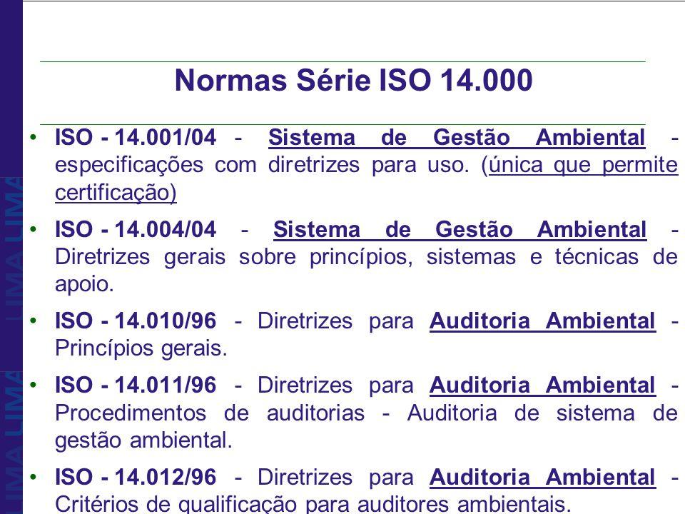 Normas Série ISO 14.000 ISO - 14.001/04 - Sistema de Gestão Ambiental - especificações com diretrizes para uso. (única que permite certificação)