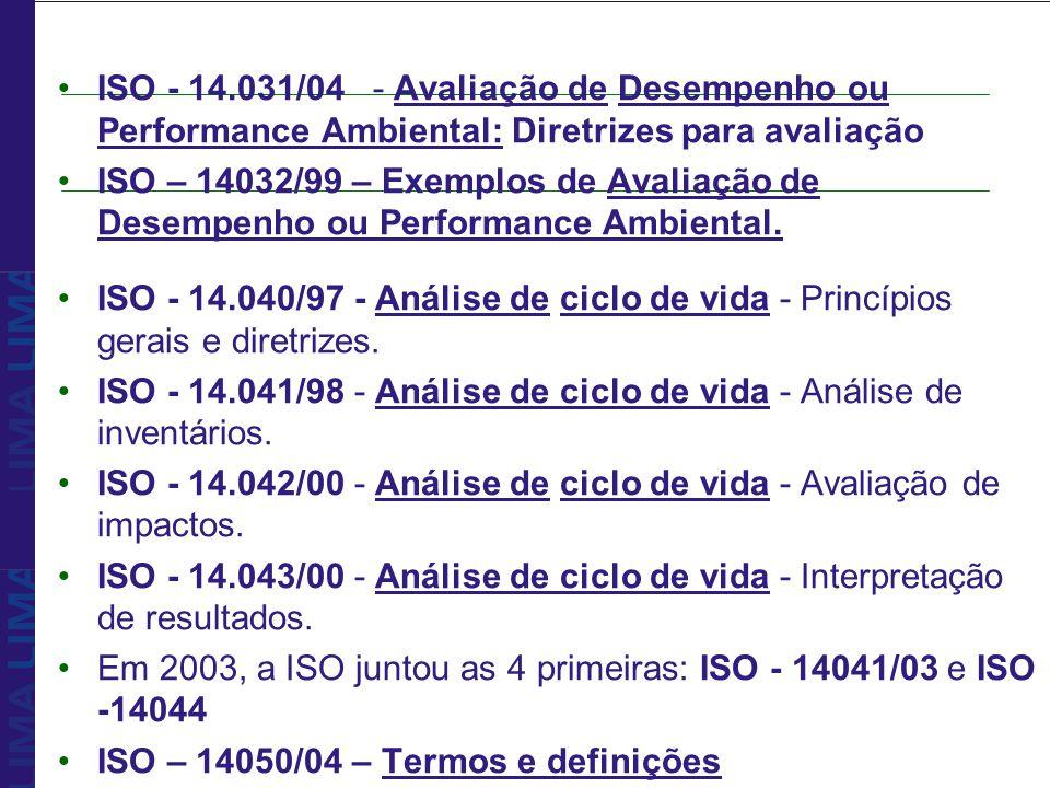 ISO - 14.031/04 - Avaliação de Desempenho ou Performance Ambiental: Diretrizes para avaliação