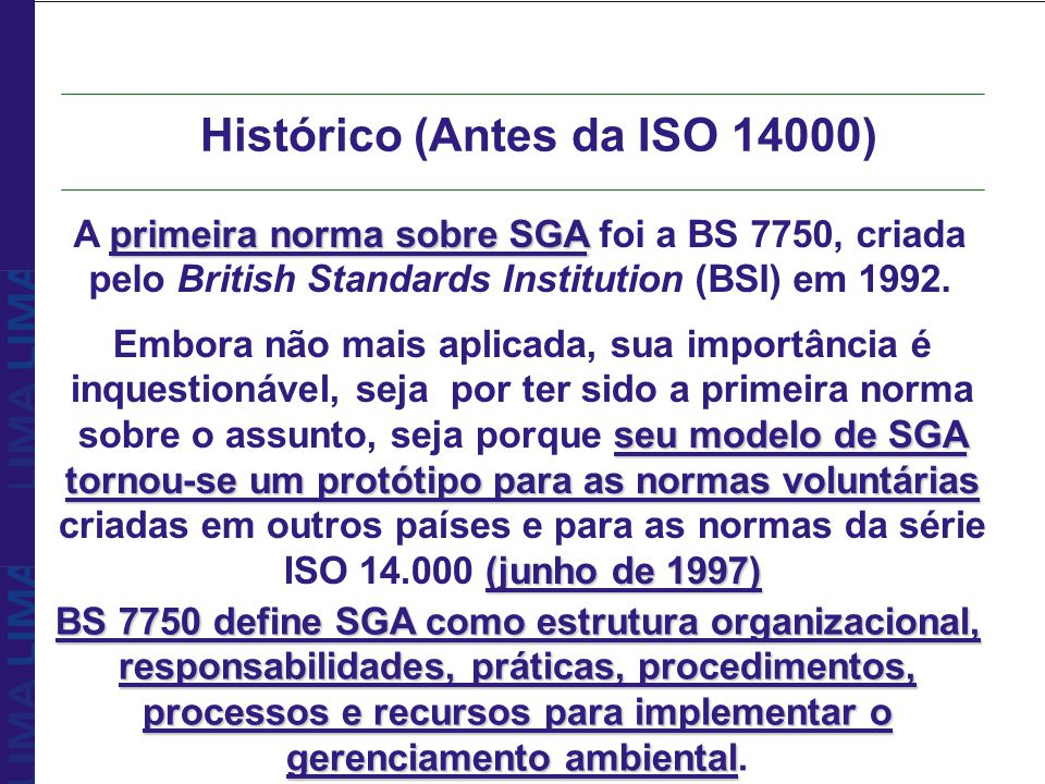 Histórico (Antes da ISO 14000)