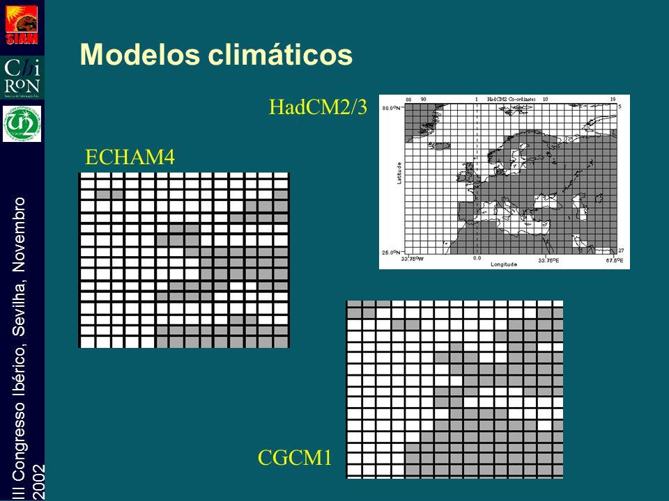 Modelos climáticos HadCM2/3 ECHAM4 CGCM1
