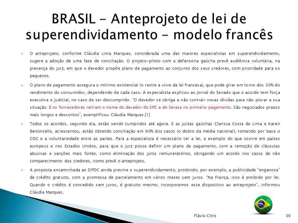 BRASIL - Anteprojeto de lei de superendividamento - modelo francês