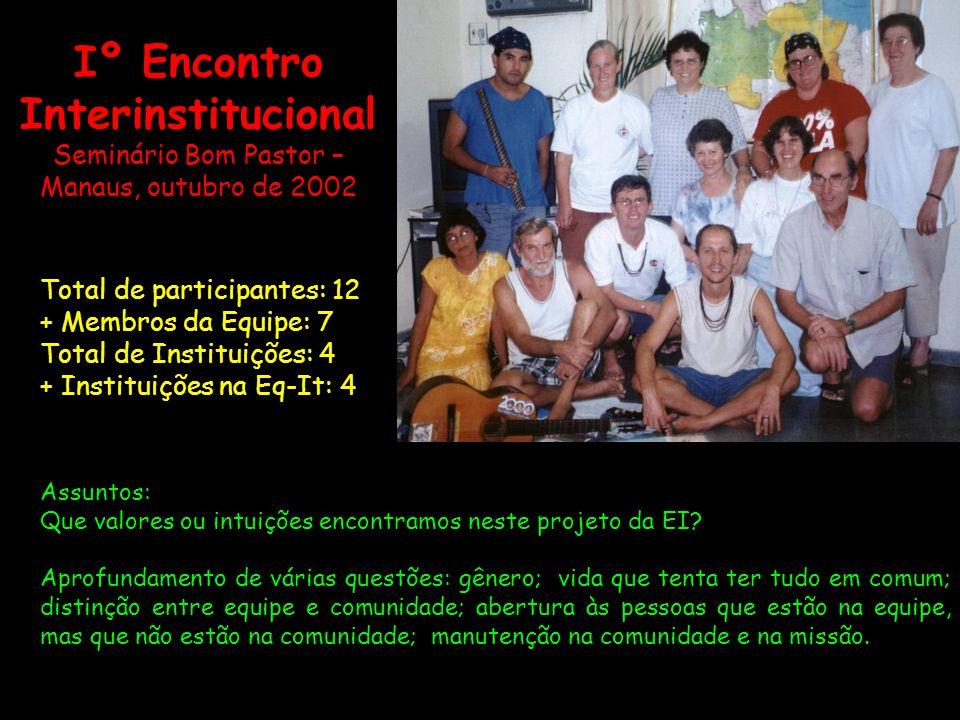 Iº Encontro Interinstitucional Seminário Bom Pastor – Manaus, outubro de 2002