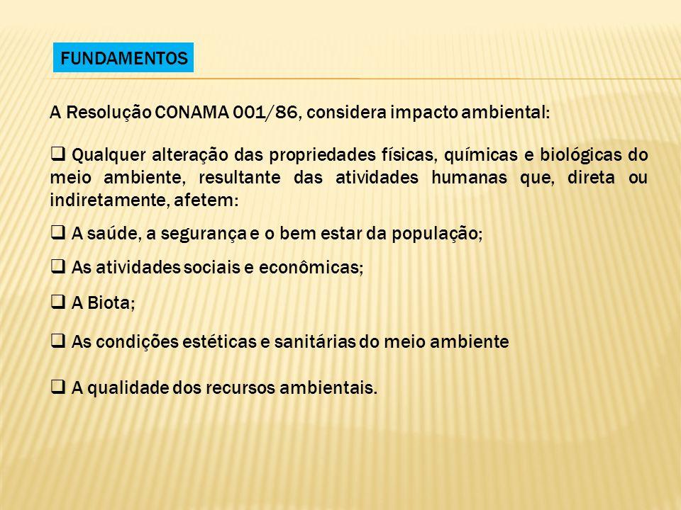 FUNDAMENTOS A Resolução CONAMA 001/86, considera impacto ambiental: