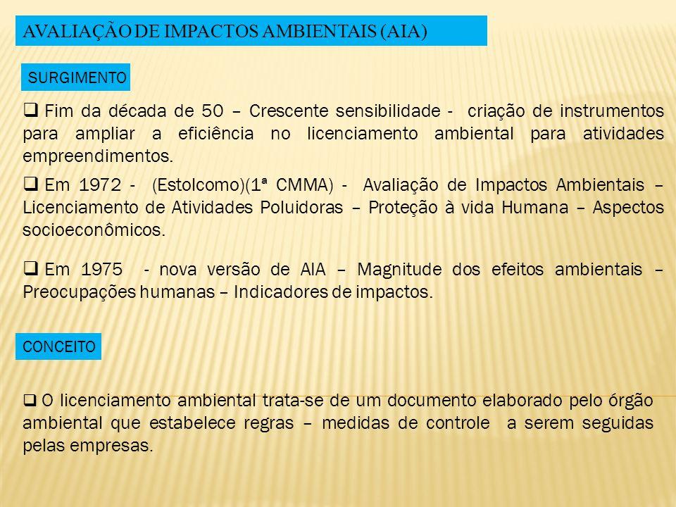 AVALIAÇÃO DE IMPACTOS AMBIENTAIS (AIA)