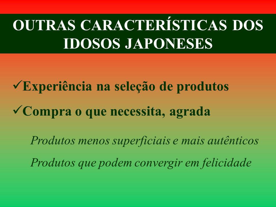 OUTRAS CARACTERÍSTICAS DOS IDOSOS JAPONESES