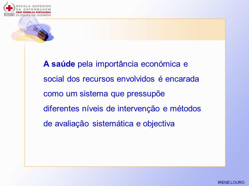 A saúde pela importância económica e social dos recursos envolvidos é encarada como um sistema que pressupõe diferentes níveis de intervenção e métodos de avaliação sistemática e objectiva