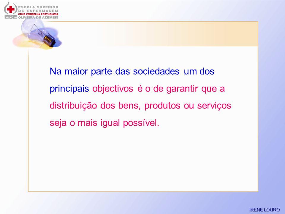 Na maior parte das sociedades um dos principais objectivos é o de garantir que a distribuição dos bens, produtos ou serviços seja o mais igual possível.