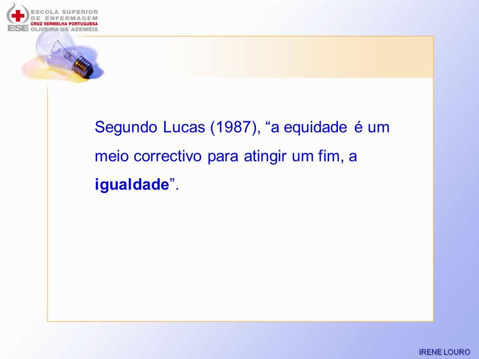 Segundo Lucas (1987), a equidade é um meio correctivo para atingir um fim, a igualdade .