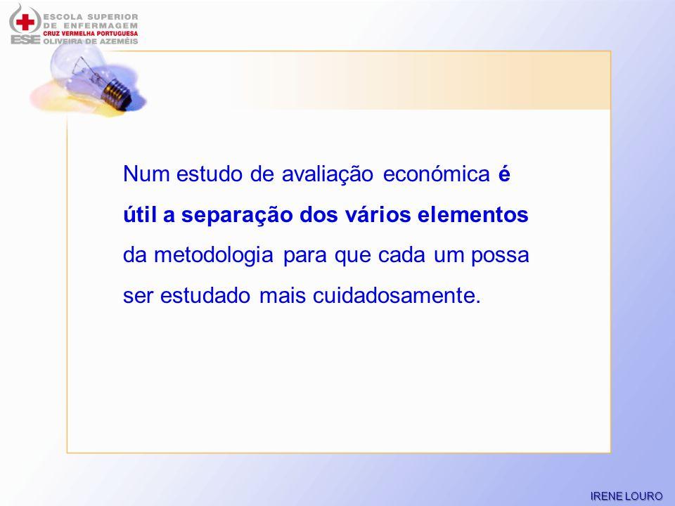 Num estudo de avaliação económica é útil a separação dos vários elementos da metodologia para que cada um possa ser estudado mais cuidadosamente.