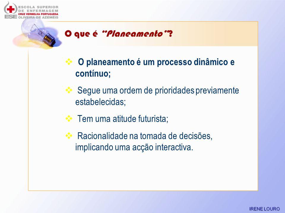 O planeamento é um processo dinâmico e contínuo;