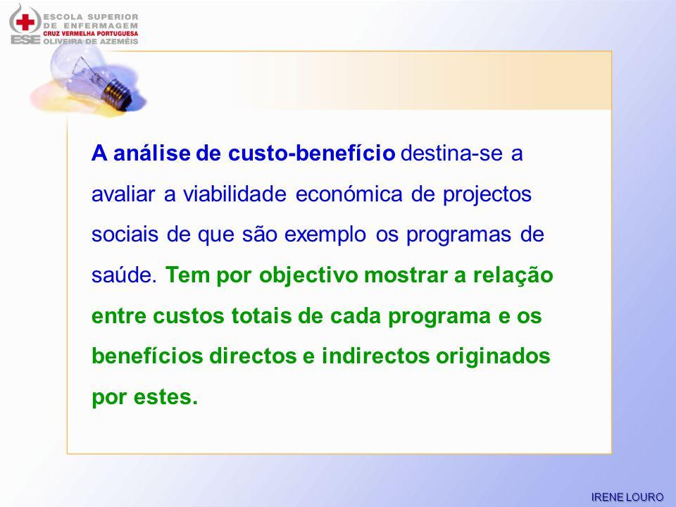 A análise de custo-benefício destina-se a avaliar a viabilidade económica de projectos sociais de que são exemplo os programas de saúde. Tem por objectivo mostrar a relação entre custos totais de cada programa e os benefícios directos e indirectos originados por estes.