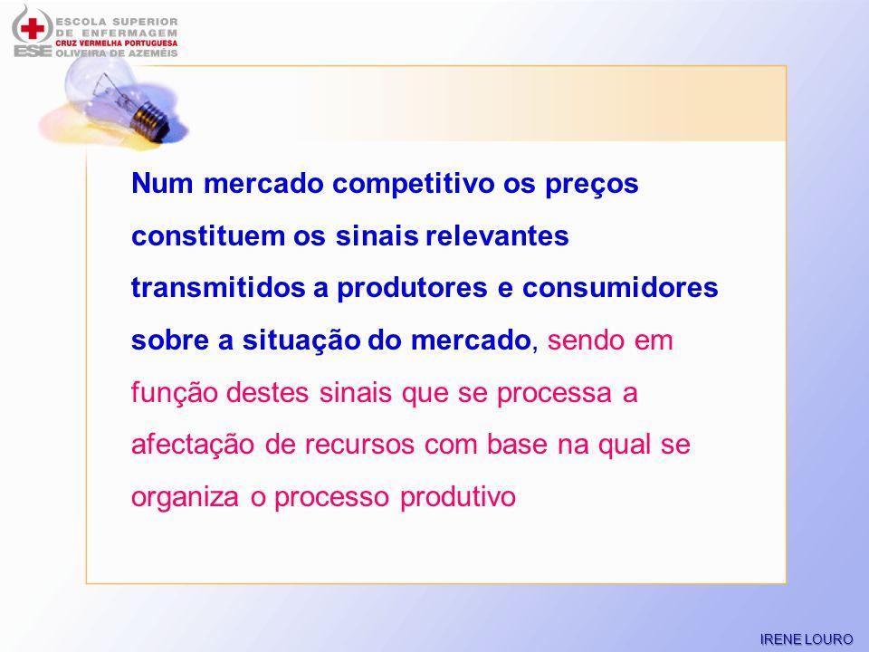 Num mercado competitivo os preços constituem os sinais relevantes transmitidos a produtores e consumidores sobre a situação do mercado, sendo em função destes sinais que se processa a afectação de recursos com base na qual se organiza o processo produtivo