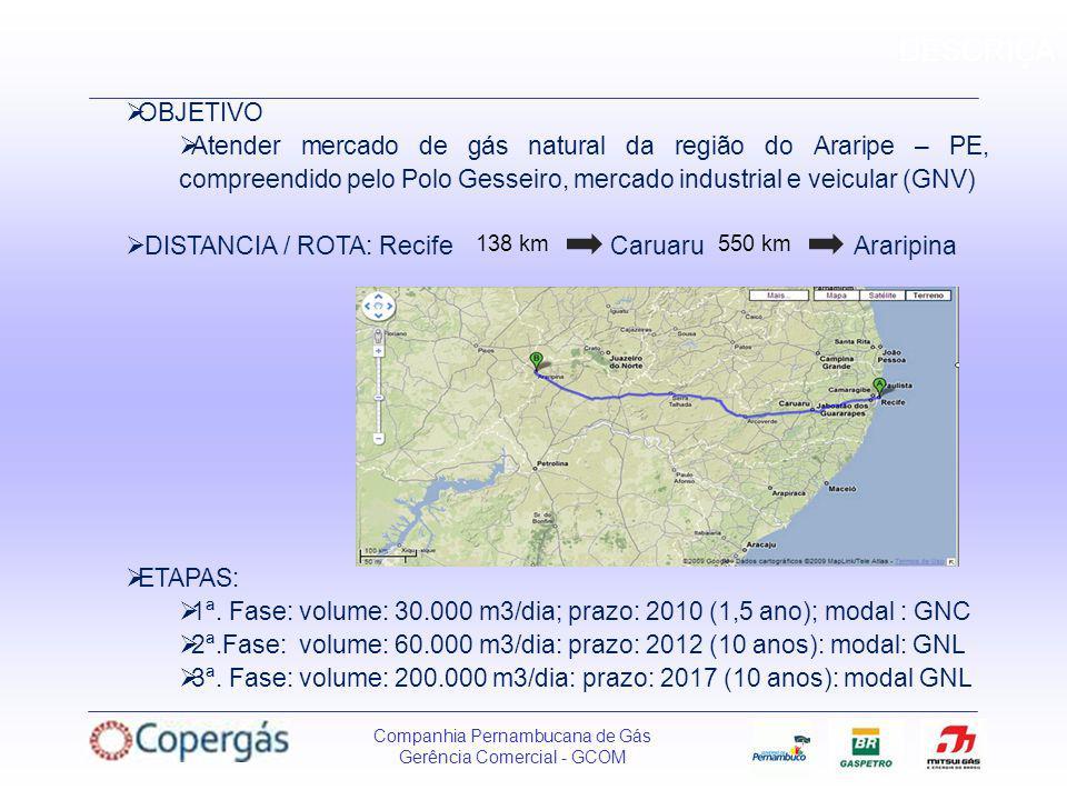DESCRIÇÃ OBJETIVO. Atender mercado de gás natural da região do Araripe – PE, compreendido pelo Polo Gesseiro, mercado industrial e veicular (GNV)