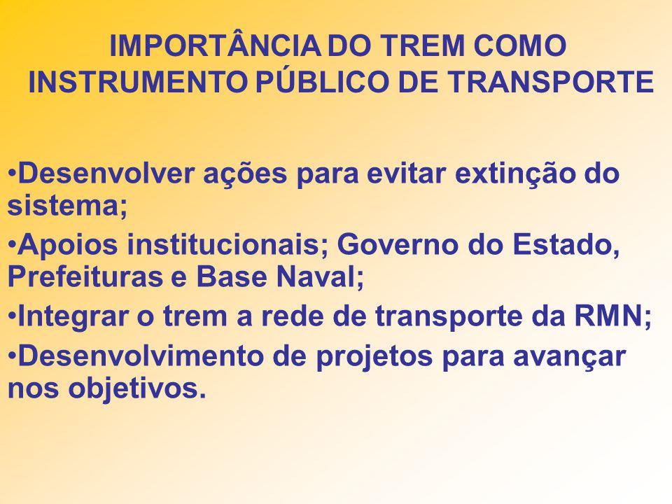 IMPORTÂNCIA DO TREM COMO INSTRUMENTO PÚBLICO DE TRANSPORTE