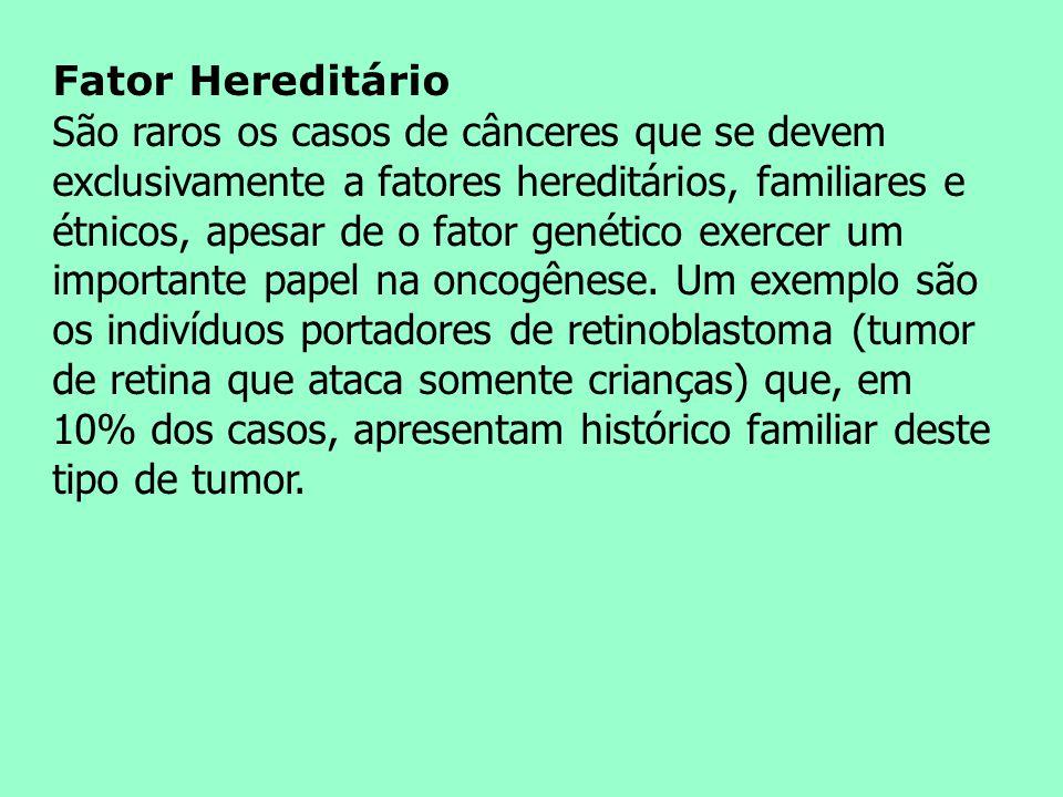 Fator Hereditário São raros os casos de cânceres que se devem exclusivamente a fatores hereditários, familiares e étnicos, apesar de o fator genético exercer um importante papel na oncogênese.
