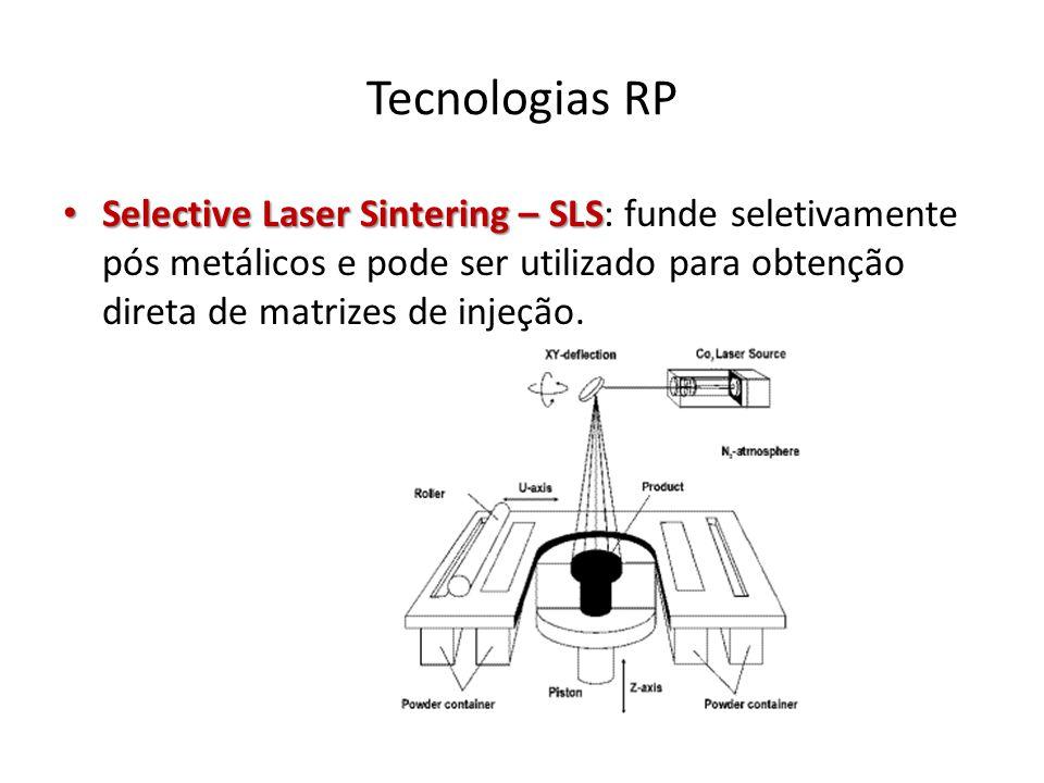 Tecnologias RP Selective Laser Sintering – SLS: funde seletivamente pós metálicos e pode ser utilizado para obtenção direta de matrizes de injeção.