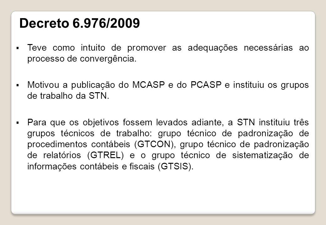 Decreto 6.976/2009 Teve como intuito de promover as adequações necessárias ao processo de convergência.