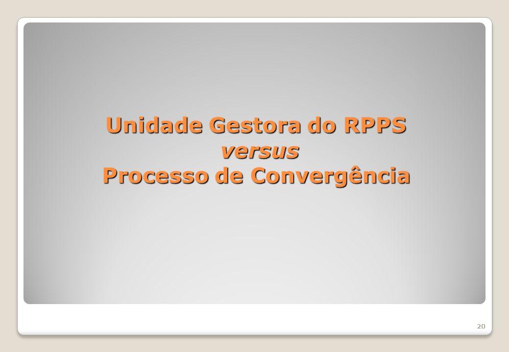 Unidade Gestora do RPPS versus Processo de Convergência