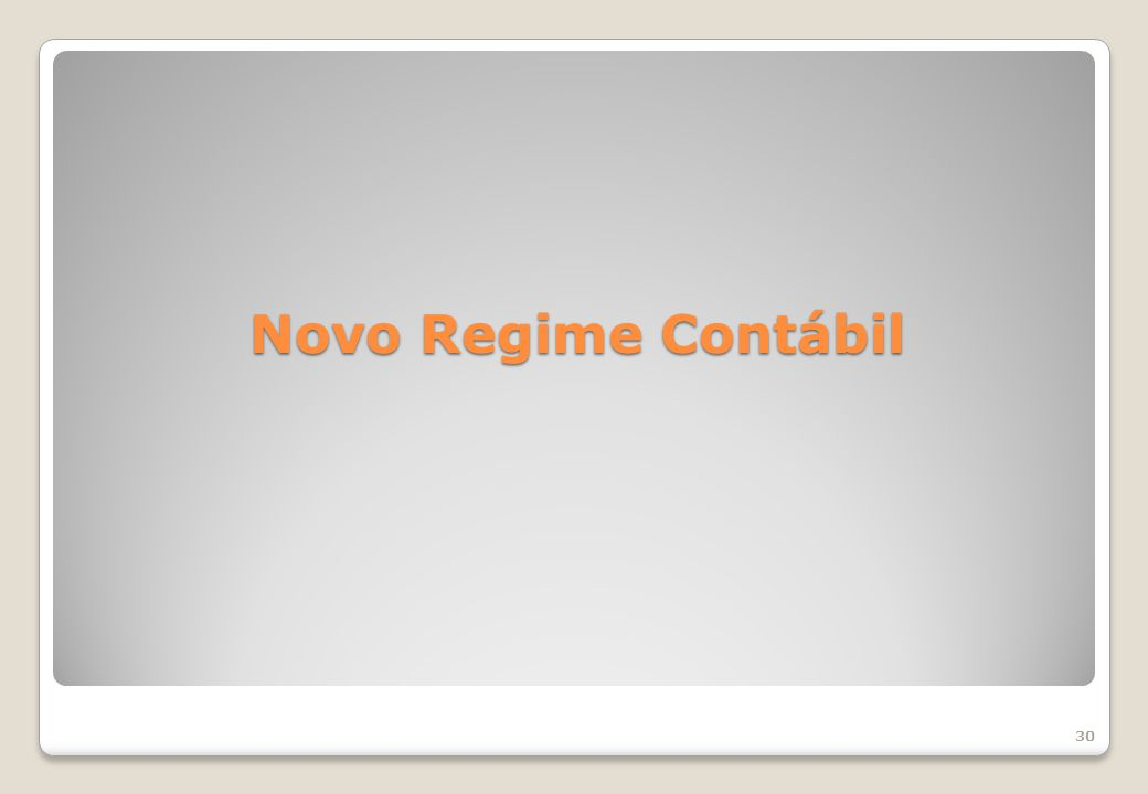 Novo Regime Contábil