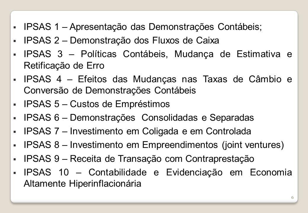 IPSAS 1 – Apresentação das Demonstrações Contábeis;