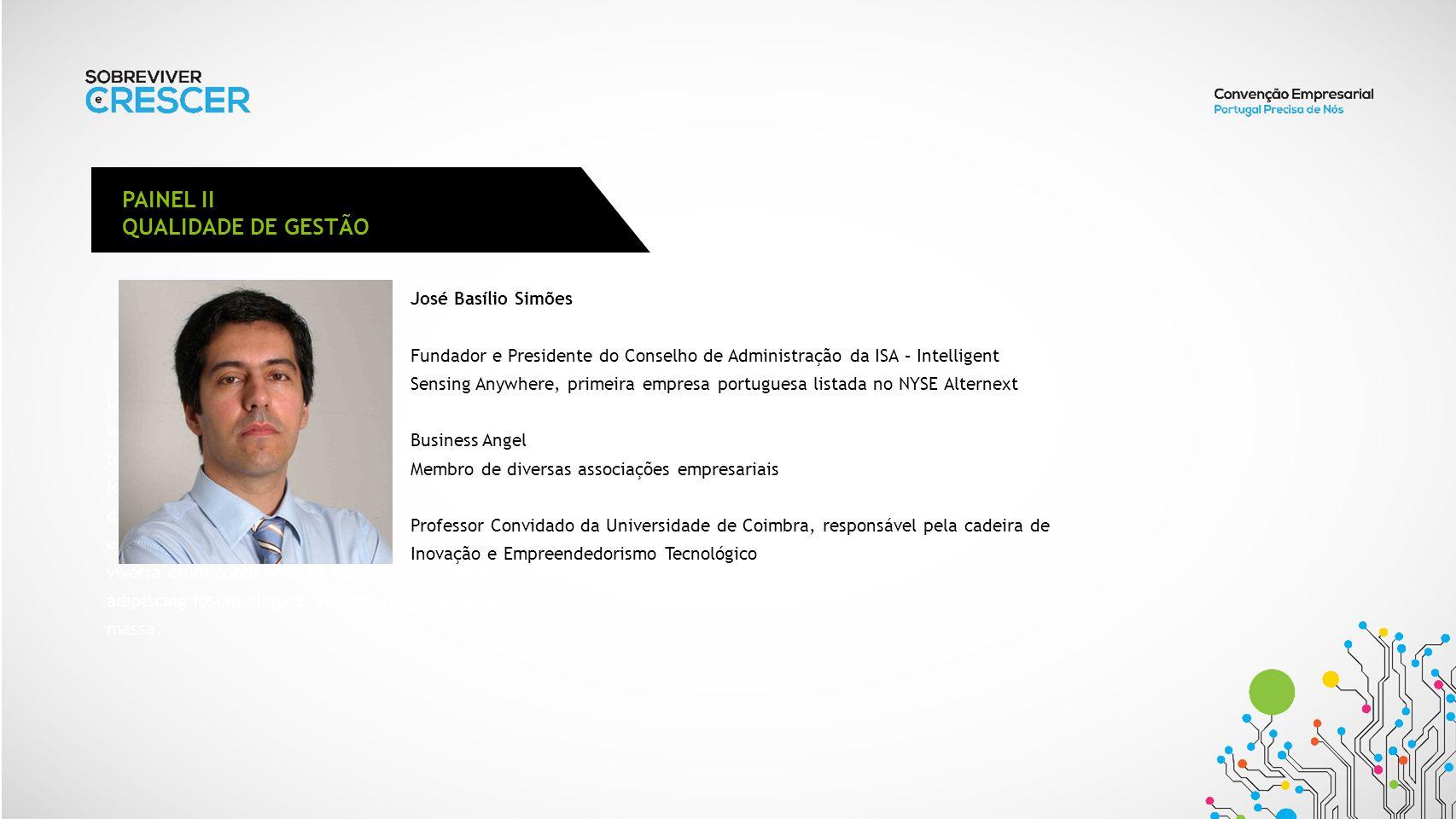 PAINEL II QUALIDADE DE GESTÃO José Basílio Simões