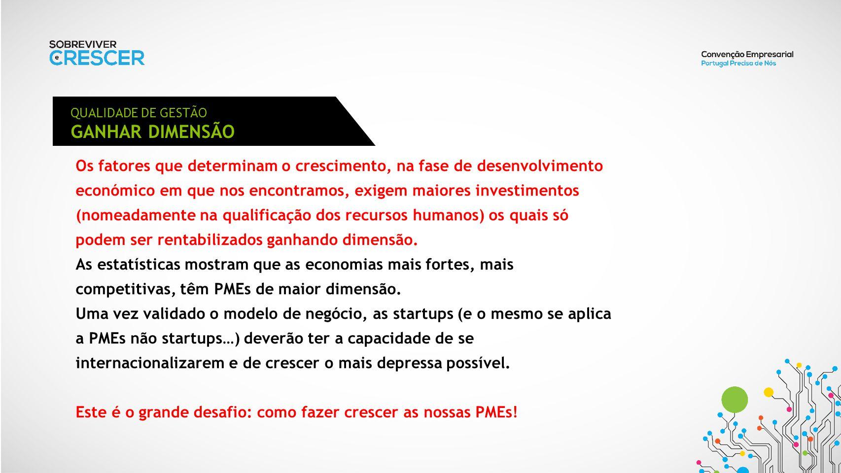 QUALIDADE DE GESTÃO GANHAR DIMENSÃO.