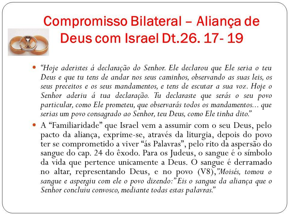 Compromisso Bilateral – Aliança de Deus com Israel Dt.26. 17- 19