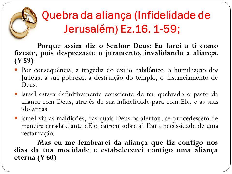 Quebra da aliança (Infidelidade de Jerusalém) Ez.16. 1-59;