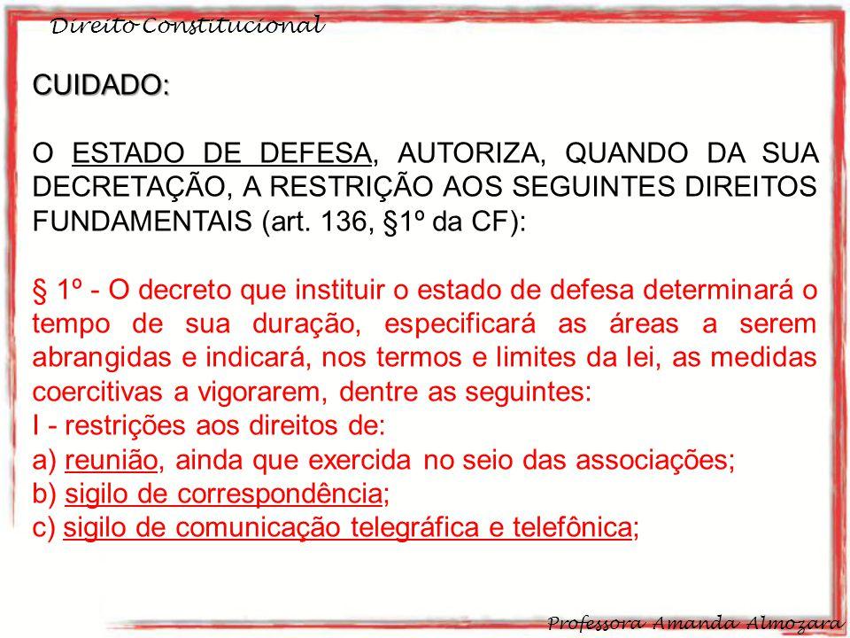 I - restrições aos direitos de: