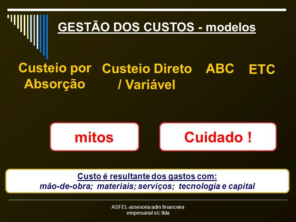 mitos Cuidado ! Custeio por Absorção Custeio Direto / Variável ABC ETC