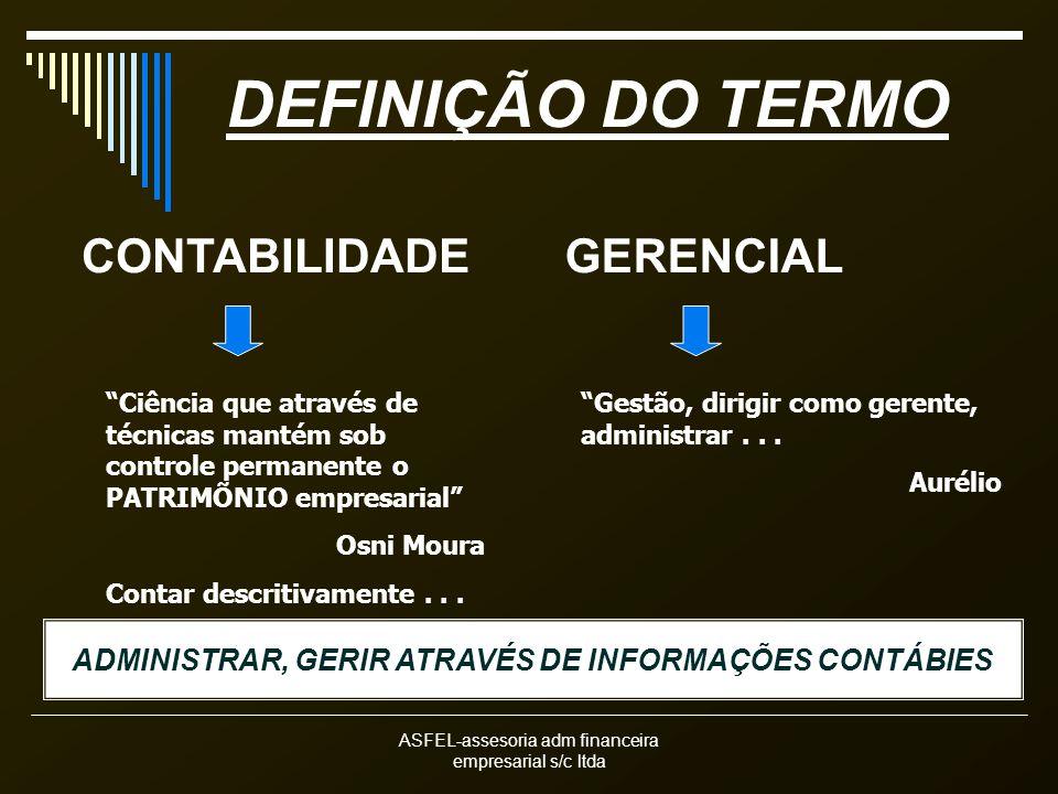 ADMINISTRAR, GERIR ATRAVÉS DE INFORMAÇÕES CONTÁBIES