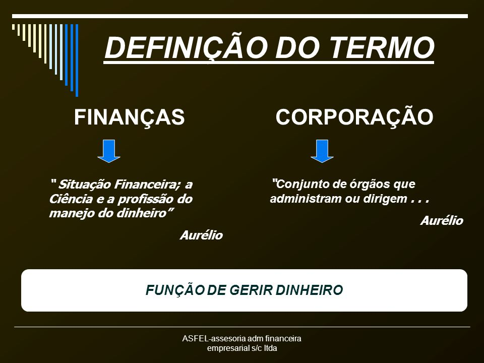 FUNÇÃO DE GERIR DINHEIRO