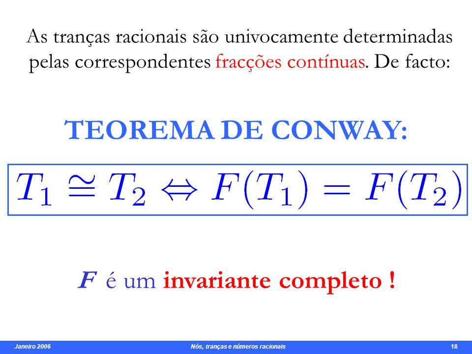Janeiro 2006 Nós, tranças e números racionais 18