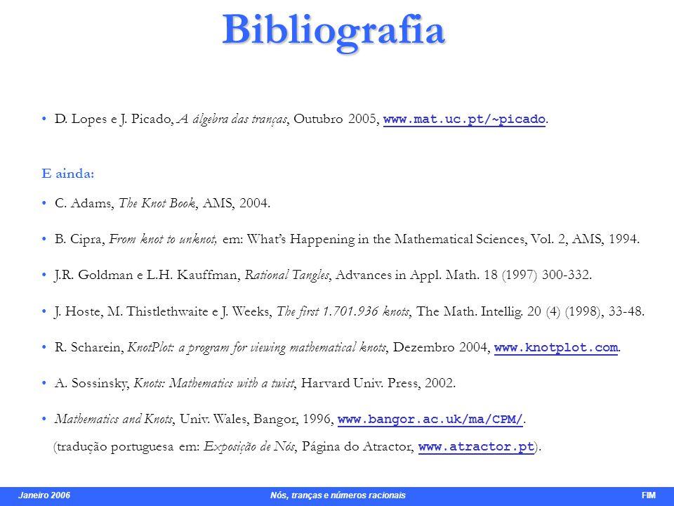 Janeiro 2006 Nós, tranças e números racionais FIM