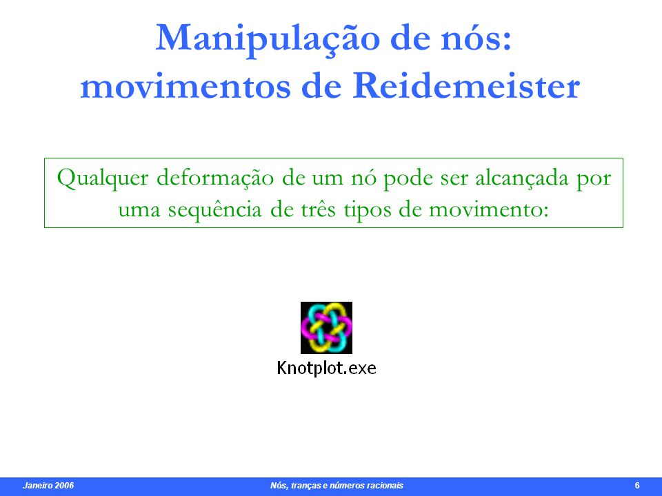 Manipulação de nós: movimentos de Reidemeister