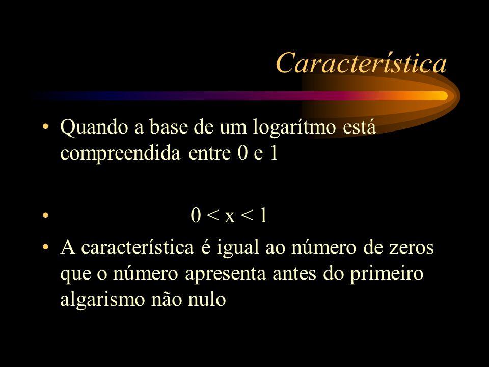Característica Quando a base de um logarítmo está compreendida entre 0 e 1. 0 < x < 1.