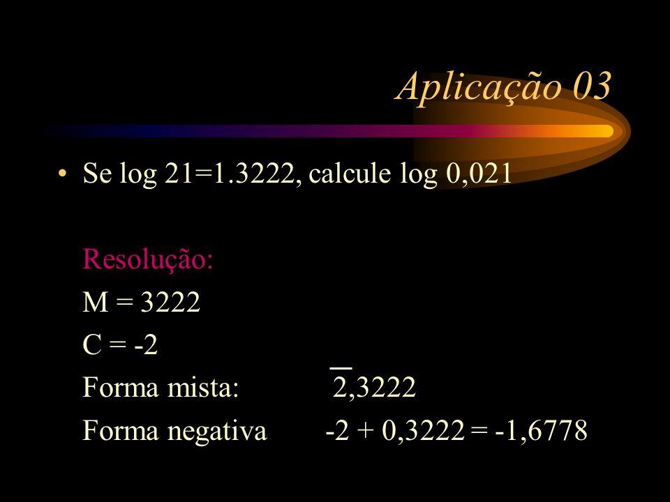 Aplicação 03 Se log 21=1.3222, calcule log 0,021 Resolução: M = 3222