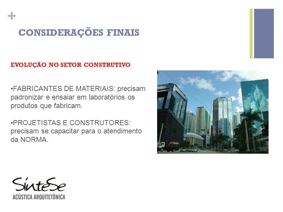 CONSIDERAÇÕES FINAIS EVOLUÇÃO NO SETOR CONSTRUTIVO.