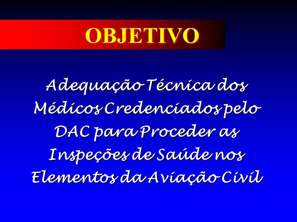 OBJETIVO Adequação Técnica dos Médicos Credenciados pelo DAC para Proceder as Inspeções de Saúde nos Elementos da Aviação Civil.
