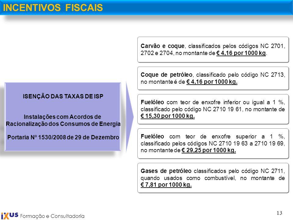 INCENTIVOS FISCAIS Carvão e coque, classificados pelos códigos NC 2701, 2702 e 2704, no montante de € 4,16 por 1000 kg.