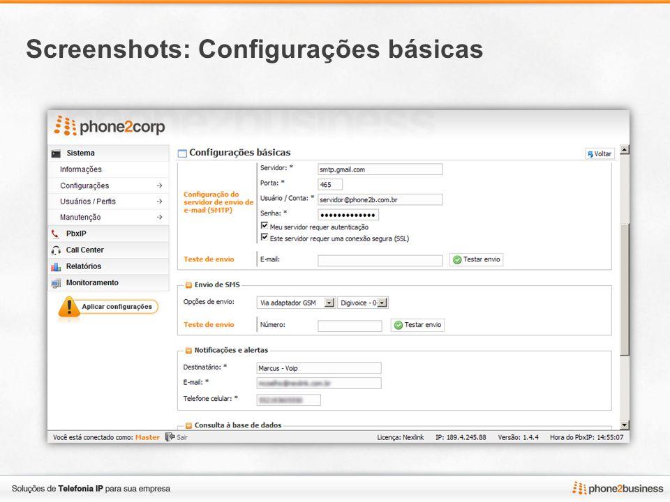 Screenshots: Configurações básicas