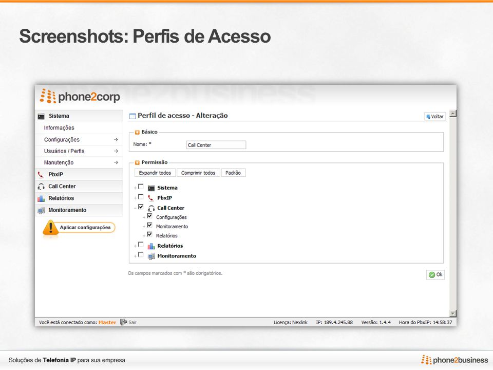 Screenshots: Perfis de Acesso