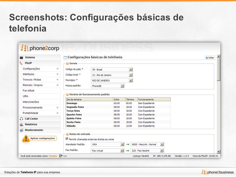 Screenshots: Configurações básicas de telefonia