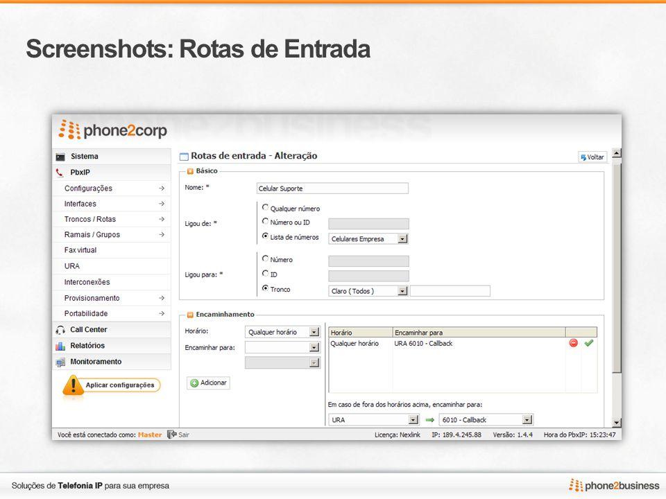 Screenshots: Rotas de Entrada