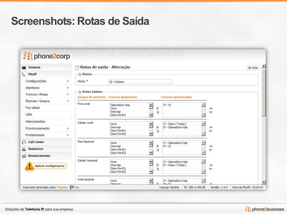 Screenshots: Rotas de Saída