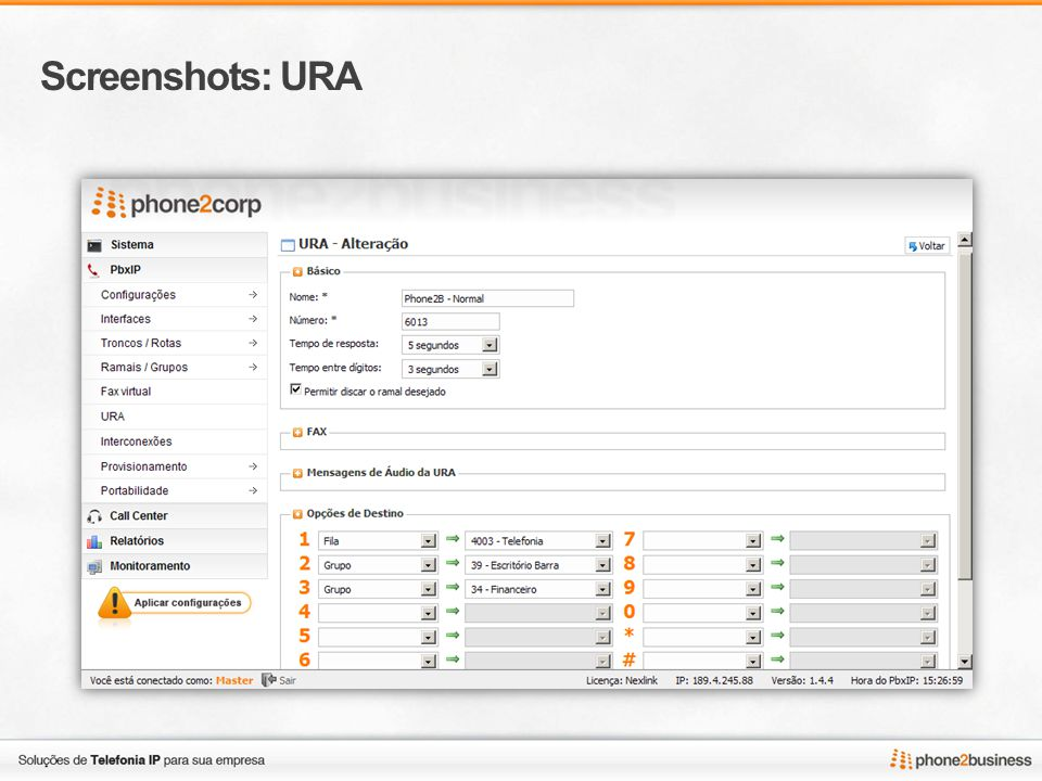Screenshots: URA
