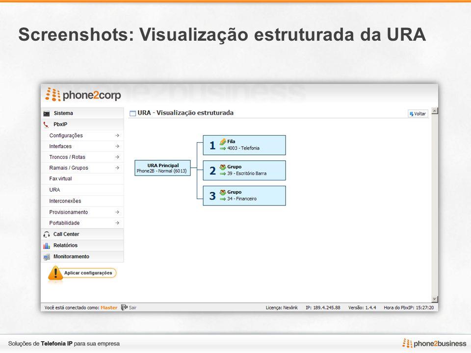 Screenshots: Visualização estruturada da URA
