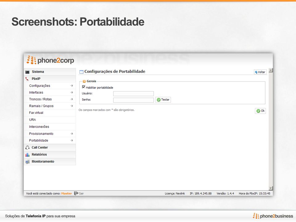 Screenshots: Portabilidade