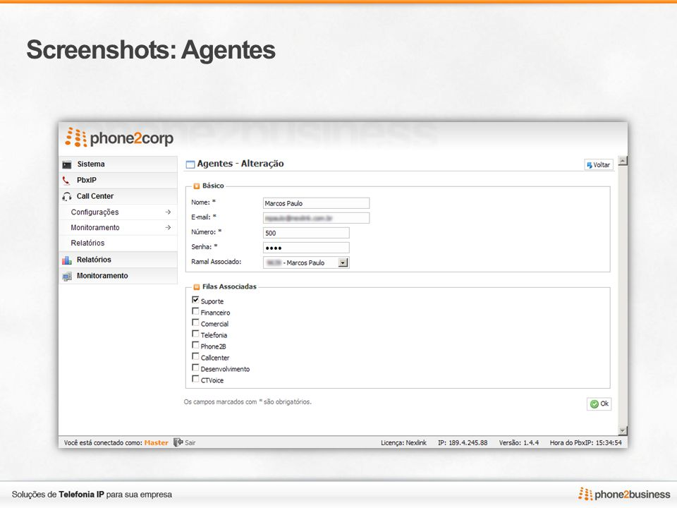 Screenshots: Agentes